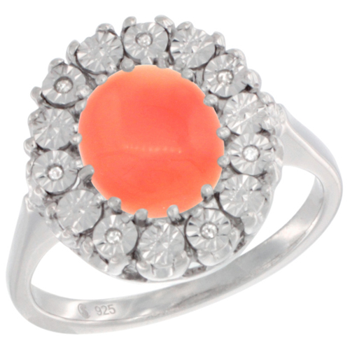 Sterling Silver Natural Coral Ring Oval 9x7, Diamond Accent, sizes 5 - 10