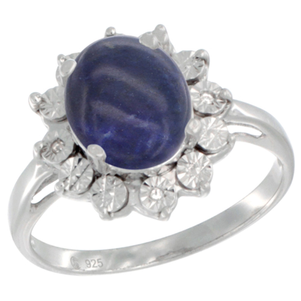 Sterling Silver Natural Lapis Ring Oval 10x8, Diamond Accent, sizes 5 - 10