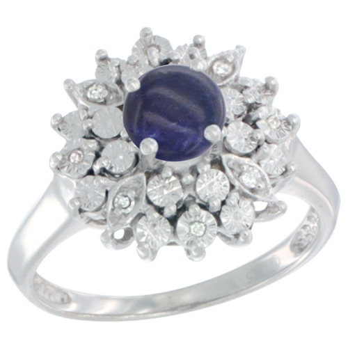 Sterling Silver Natural Lapis Ring Oval 6x4, Diamond Accent, sizes 5 - 10