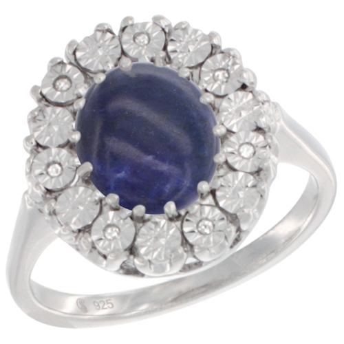 Sterling Silver Natural Lapis Ring Oval 9x7, Diamond Accent, sizes 5 - 10