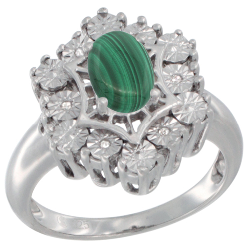 Sterling Silver Natural Malachite Ring 7x5 Oval Illusion Diamonds Rhodium finish, sizes 5 - 10