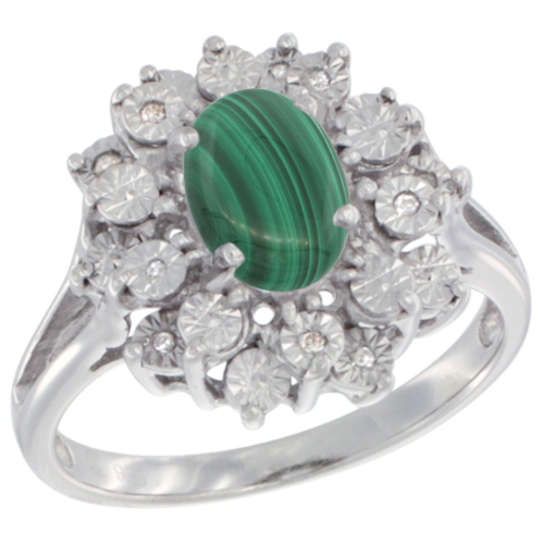 Sterling Silver Natural Malachite Ring Oval 8x6, Diamond Accent, sizes 5 - 10