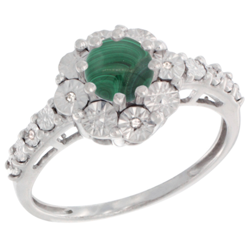 Sterling Silver Natural Malachite Ring Round 5x5, Diamond Accent, sizes 5 - 10
