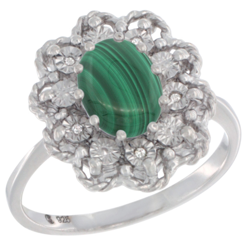 Sterling Silver Natural Malachite Ring Oval 8x6, Diamond Accent,, sizes 5 - 10