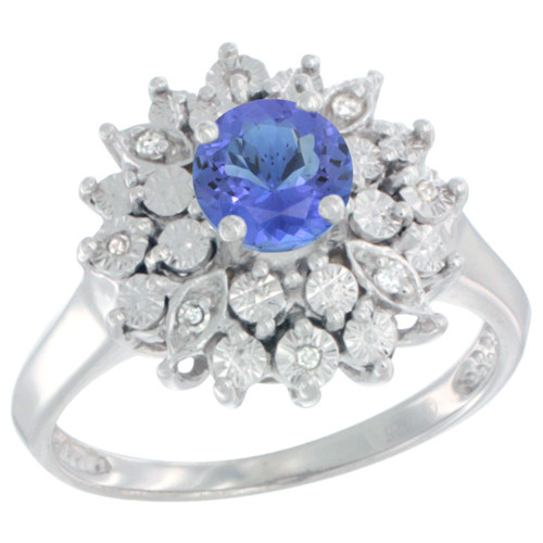 Sterling Silver Natural Tanzanite Ring Oval 6x4, Diamond Accent, sizes 5 - 10