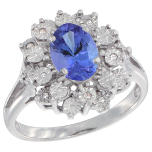 Sterling Silver Natural Tanzanite Ring Oval 8x6, Diamond Accent, sizes 5 - 10