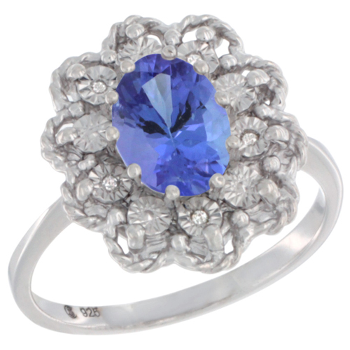 Sterling Silver Natural Tanzanite Ring Oval 8x6, Diamond Accent,, sizes 5 - 10