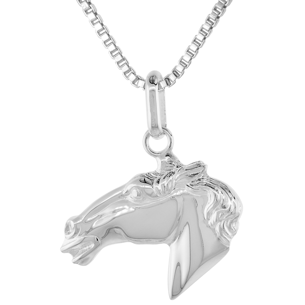 Sterling Silver Horse Head Pendant High Definition 1 1/4 inch high with No Chain Included