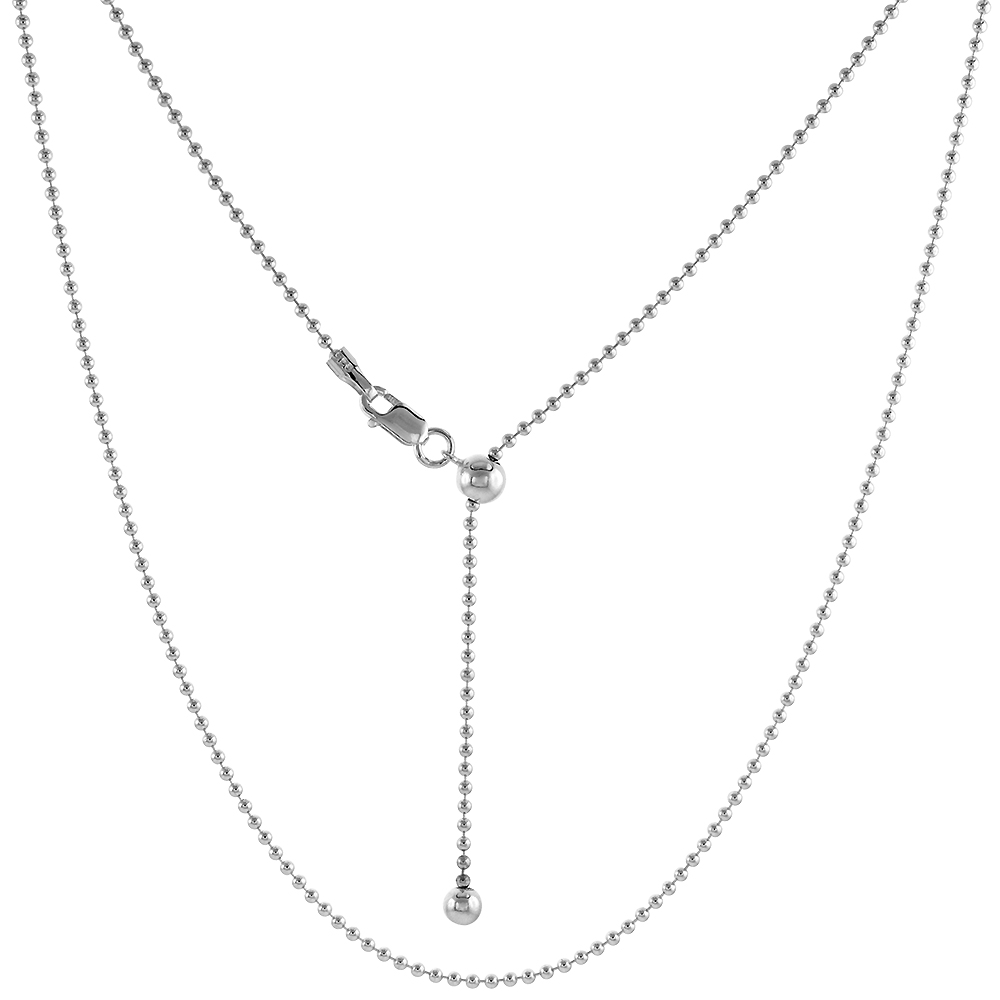 Sterling Silver Adjustable 1.5mm Bead Chain Necklace 1.5mm Nickel Free, 24 inch