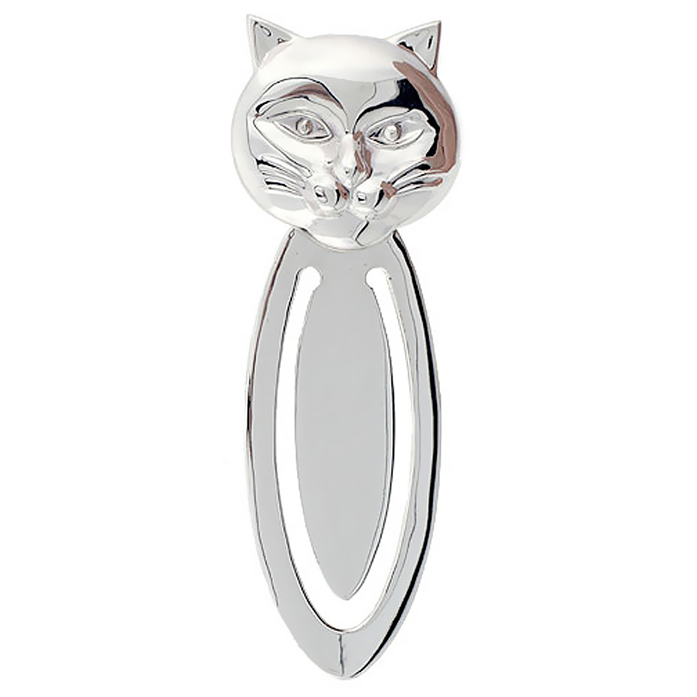 Sterling Silver CAT FACE Bookmark Clip 2 7/8 in. (73 mm) tall
