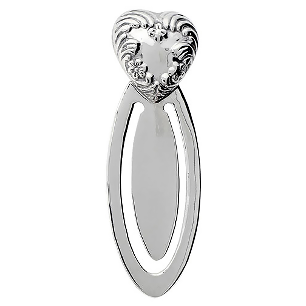 Sterling Silver Floral HEART Bookmark Clip 2 5/8 in. (66 mm) tall