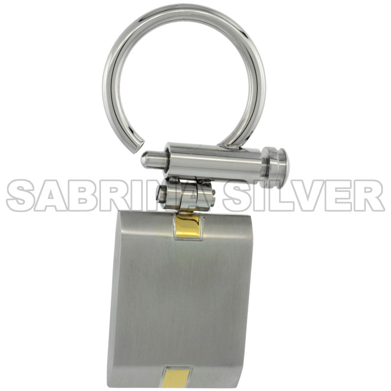 Stainless Steel Keychain Square Tag Gold Tone Accent, 1 1/2 inch