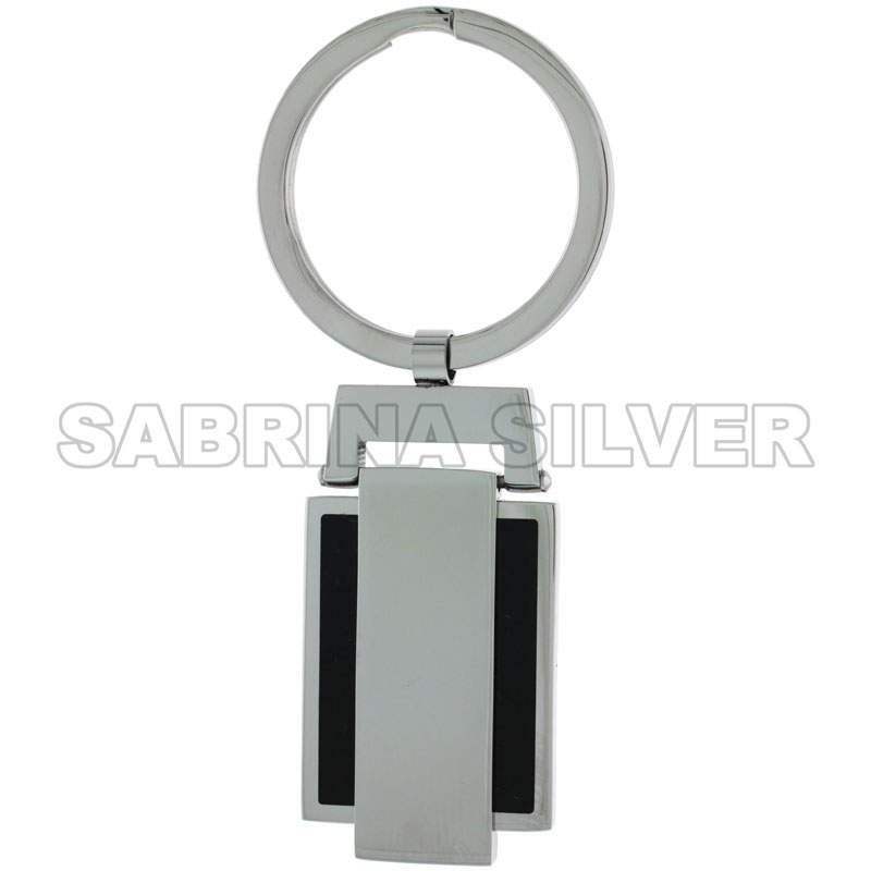 Stainless Steel Keychain Black Resin Inlay Engravable, 3 inch