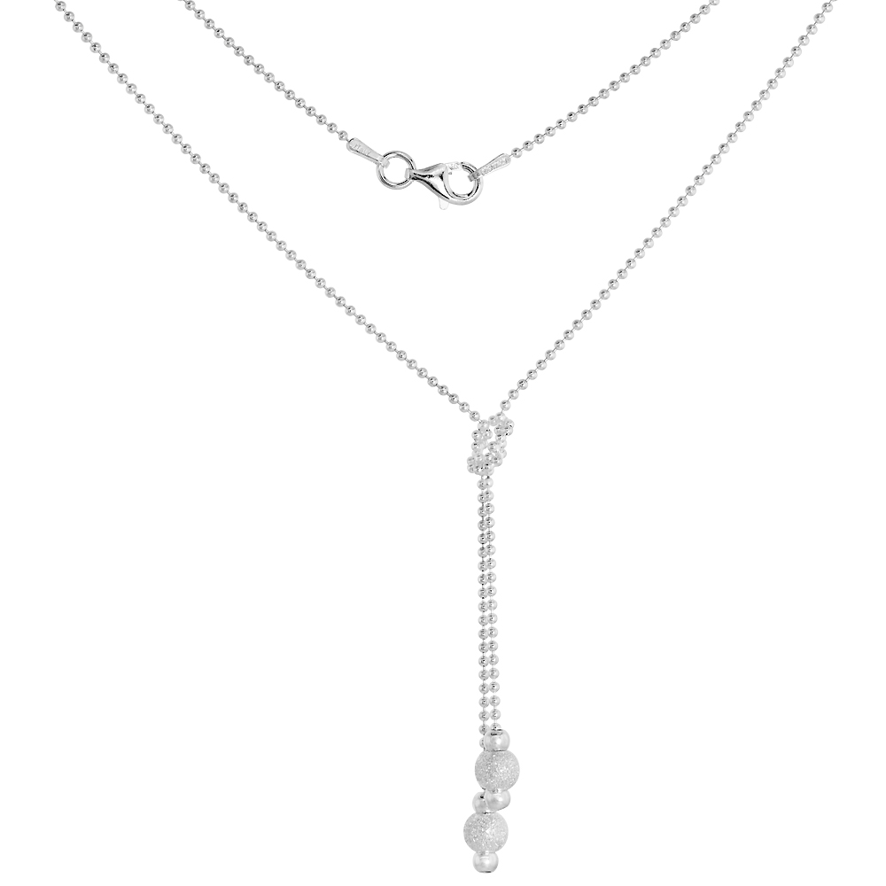 Sterling Silver Friendship Knot Y Necklace for Women 2 Stardust Bead Drops Ball Chain 17 inch Italy