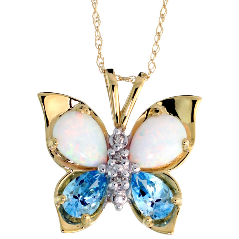 10k Yellow Gold Butterfly Necklace Genuine Blue Topaz Created Opal Diamond accent 5/8 inch (17mm) wide