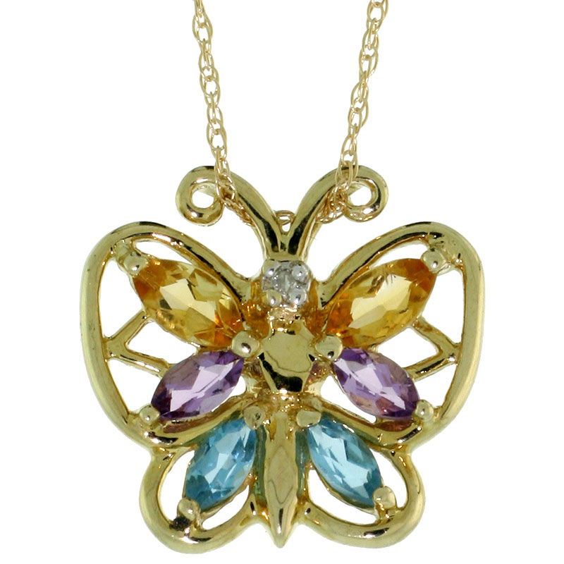 10k Gold Amethyst Blue Topaz Citrine Butterfly Necklace Marquise Cut 5/8 inch wide Thin Rope Chain