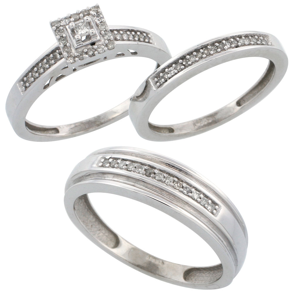 14k White Gold 3-Piece Trio His (6mm) & Hers (2.5mm) Diamond Wedding Band Set, w/ 0.33 Carat Brilliant Cut Diamonds; (Ladies Size 5 to10; Men's Size 8 to 14)