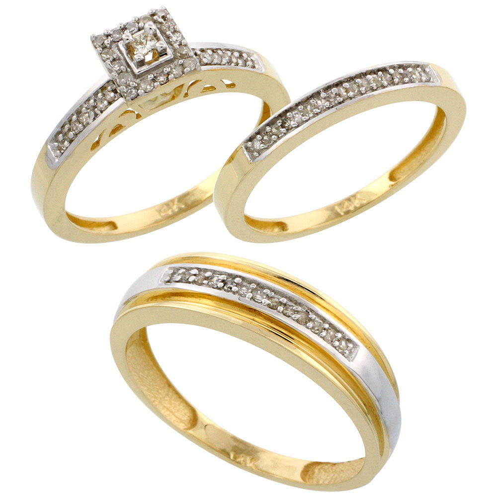 14k Gold 3-Piece Trio His (6mm) & Hers (2.5mm) Diamond Wedding Band Set, w/ 0.33 Carat Brilliant Cut Diamonds; (Ladies Size 5 to10; Men's Size 8 to 14)