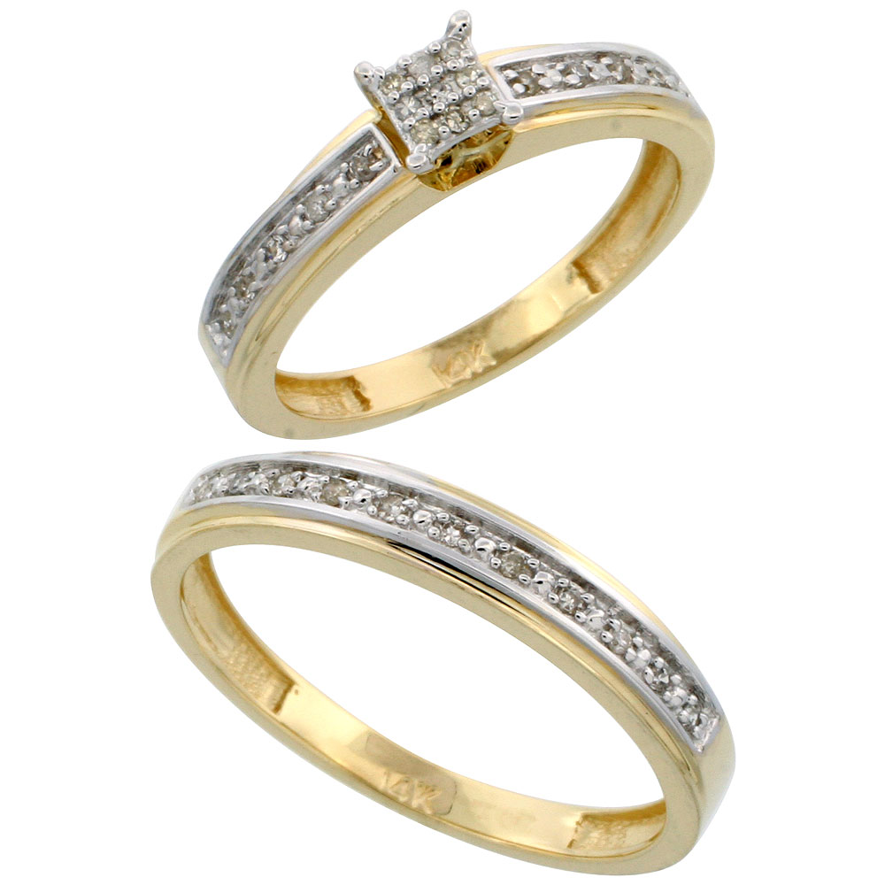14k Gold 2-Piece Diamond Ring Set ( Engagement Ring & Man's Wedding Band ), w/ 0.21 Carat Brilliant Cut Diamonds, ( 4mm; 4mm ) wide