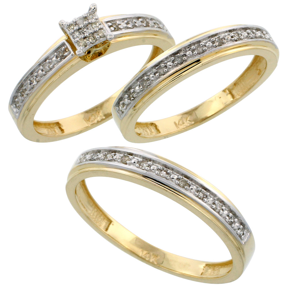 14k Gold 3-Piece Trio His (4mm) & Hers (4mm) Diamond Wedding Band Set, w/ 0.29 Carat Brilliant Cut Diamonds; (Ladies Size 5 to10; Men's Size 8 to 14)