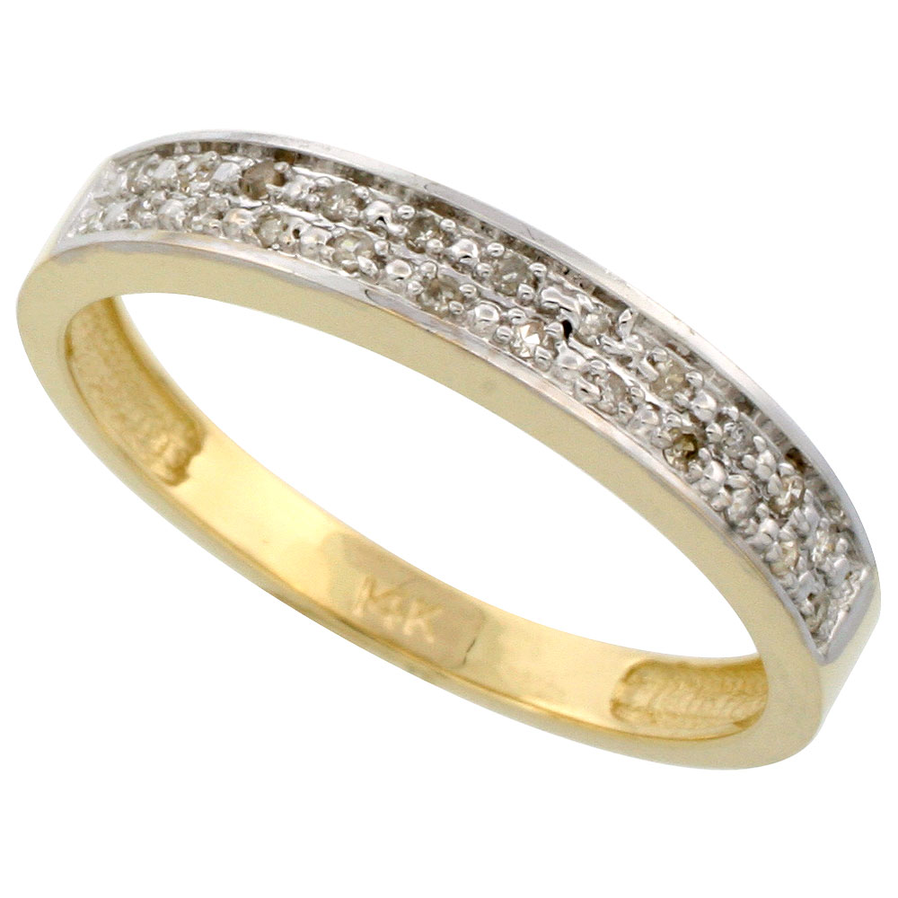 14k Gold Men's Diamond Band, w/ 0.10 Carat Brilliant Cut Diamonds, 5/32 in. (4mm) wide