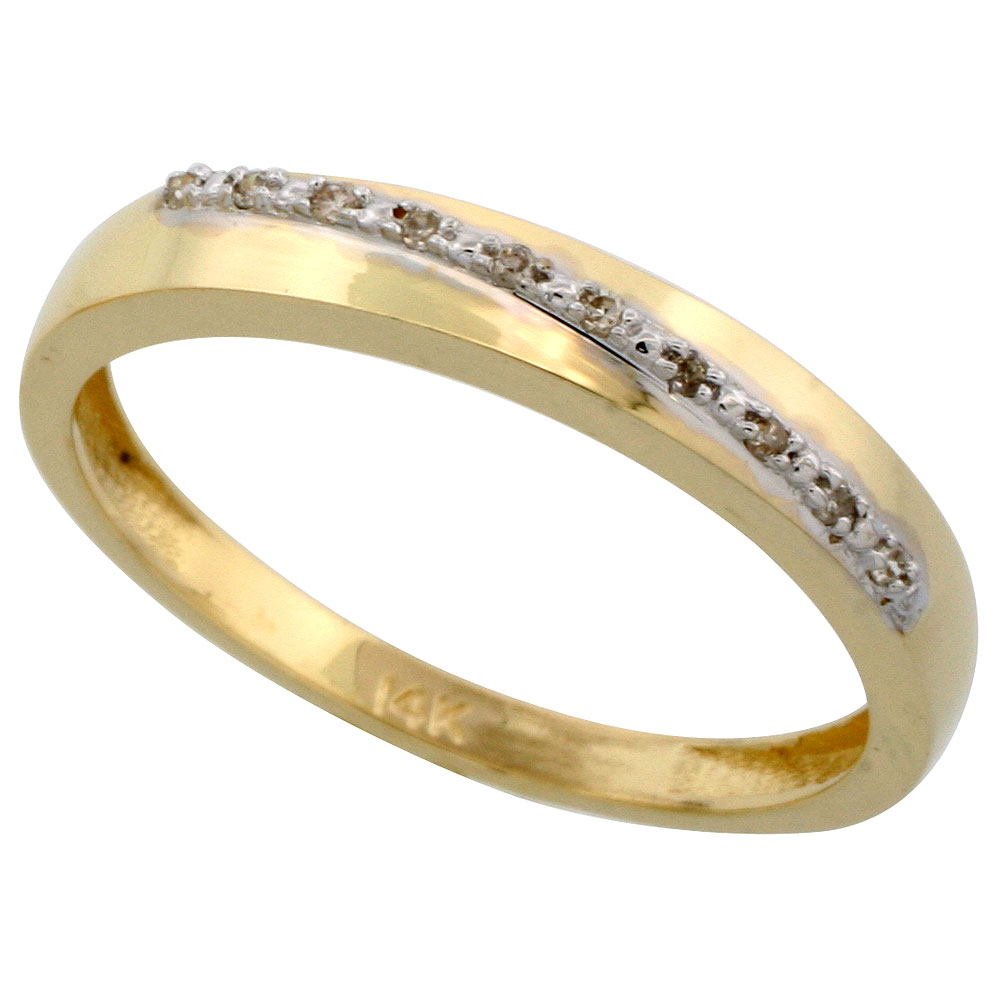 14k Gold Men's Diamond Band, w/ 0.08 Carat Brilliant Cut Diamonds, 1/8 in. (3.5mm) wide