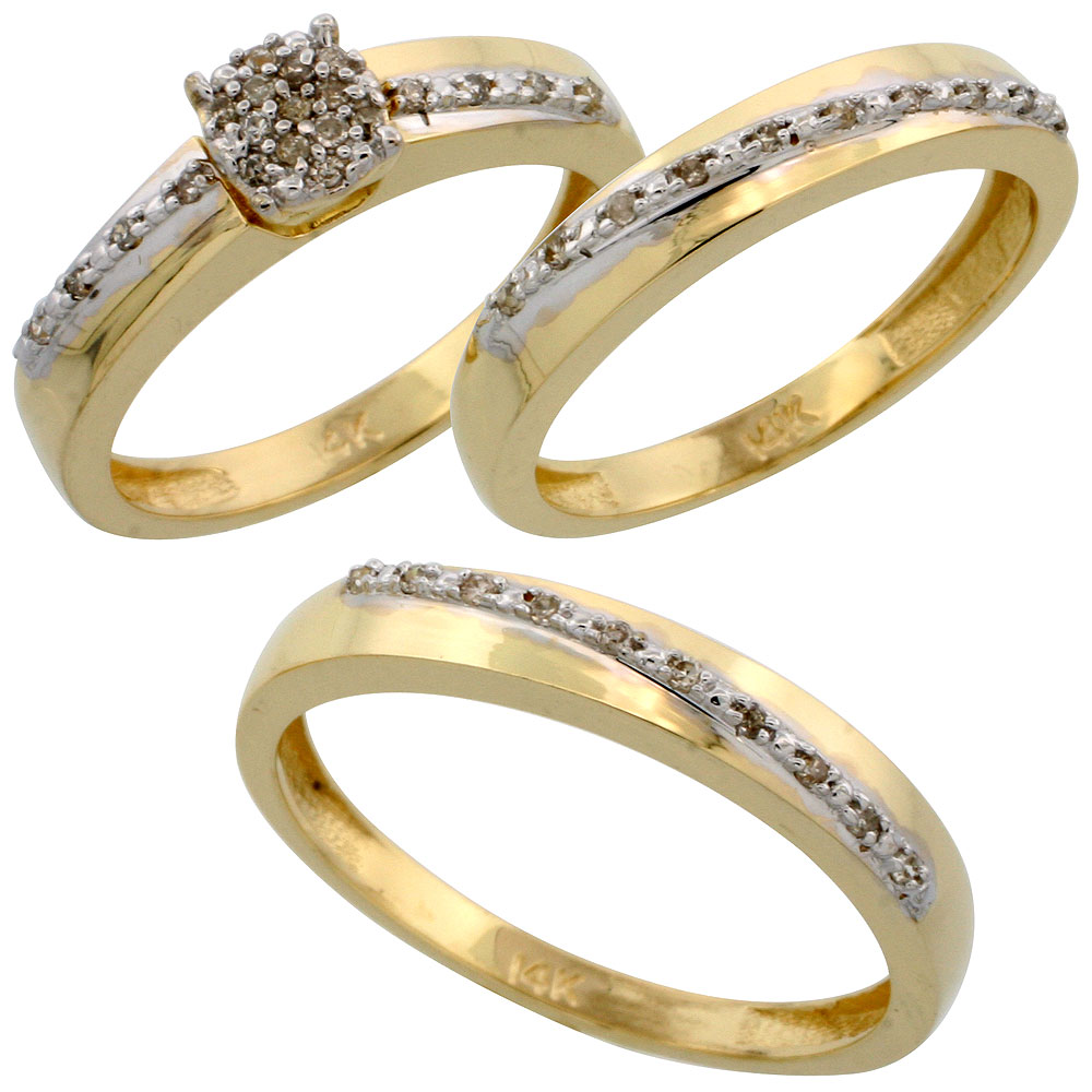 14k Gold 3-Piece Trio His (3.5mm) & Hers (3.5mm) Diamond Wedding Band Set, w/ 0.30 Carat Brilliant Cut Diamonds; (Ladies Size 5 to10; Men's Size 8 to 14)