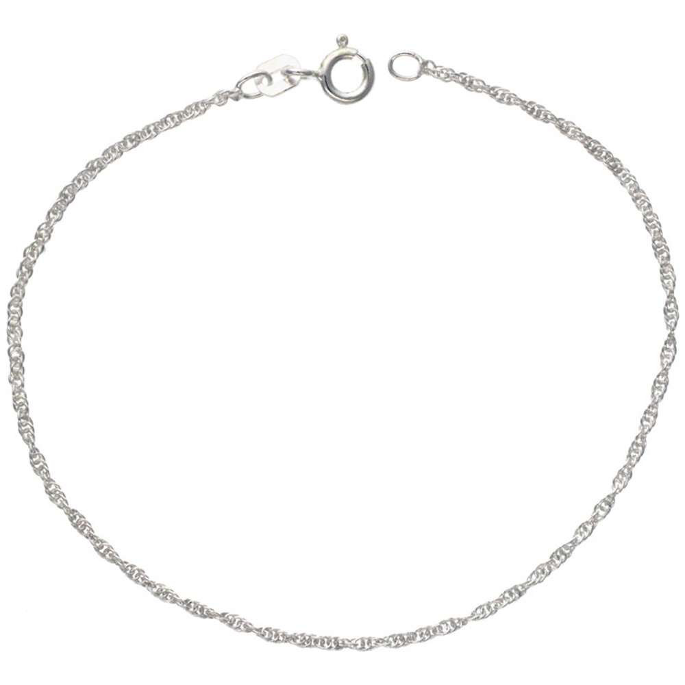 Sterling Silver Loose Rope Chain Necklace 1mm Very Fine Nickel Free Italy, sizes 16 - 18 inch