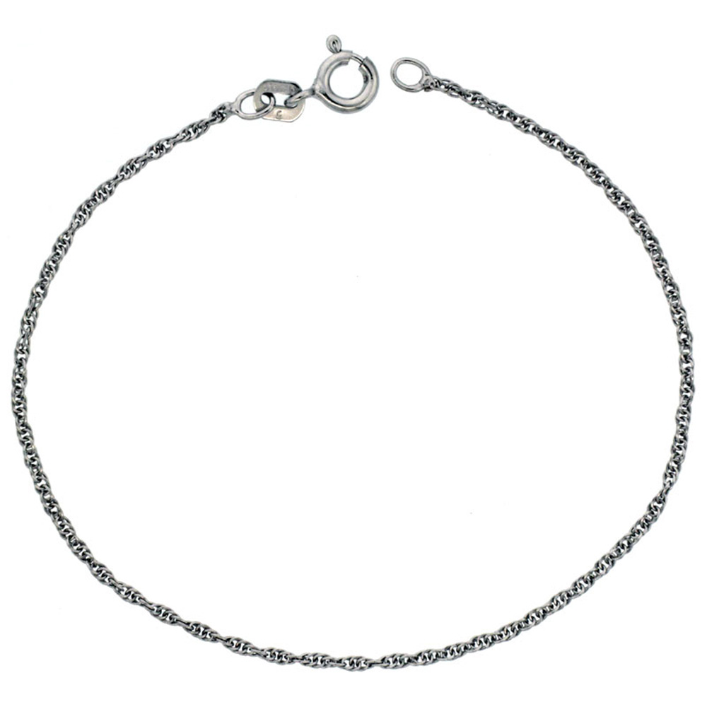 Sterling Silver Loose Rope Chain Necklace 1mm Very Fine Rhodium finish, sizes 16 - 18 inch
