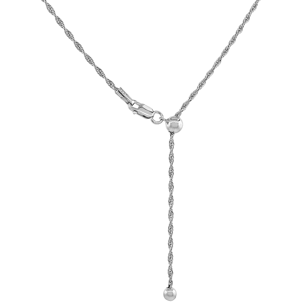Sterling Silver Adjustable Rope Chain Necklace 1.6 mm Rhodium Finish Nickel Free, 24 inch