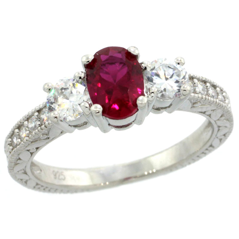 Sterling Silver Ruby Cubic Zirconia Engagement Ring 3-stone 3/4 ct Oval cntr 1/4 ct Sides, sizes 6-9