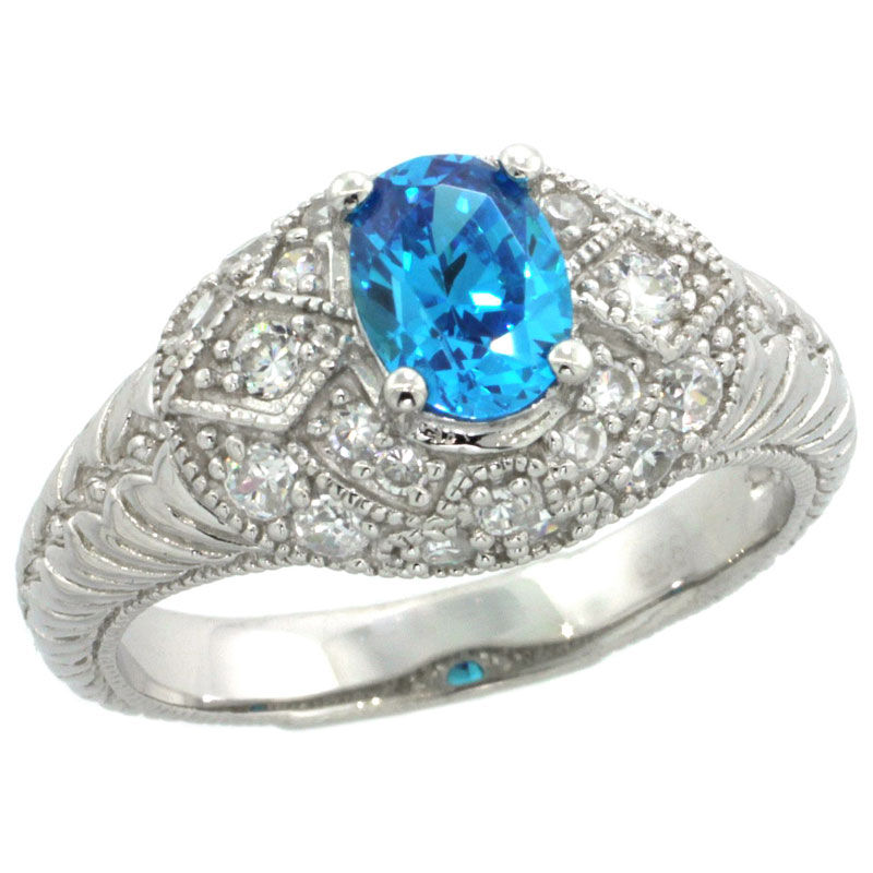 Sterling Silver Vintage Style Blue Topaz Cubic Zirconia Engagement Ring Oval 3/4 ct Center, sizes 6-9