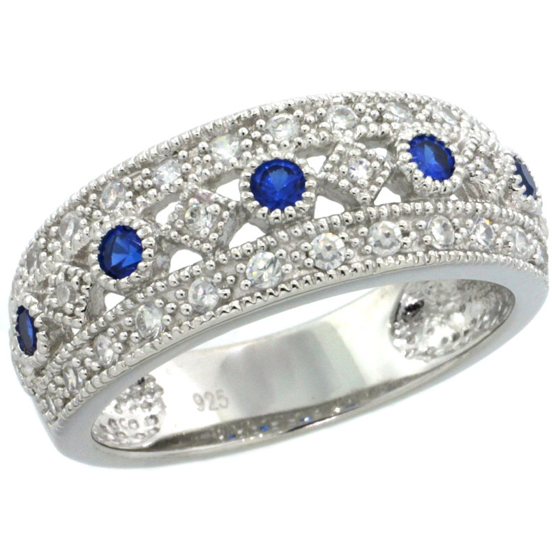 Sterling Silver Vintage Style Cubic Zirconia Ring Sappire Center Row 5/16 inch wide, sizes 6-9