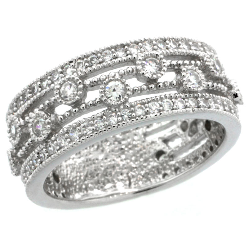 Sterling Silver Vintage Style Cubic Zirconia Ring 8mm Band 5/16 inch wide, sizes 6-9