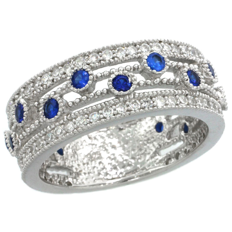 Sterling Silver Vintage Style Cubic Zirconia Ring 8mm Band Sapphire Center Row, sizes 6-9