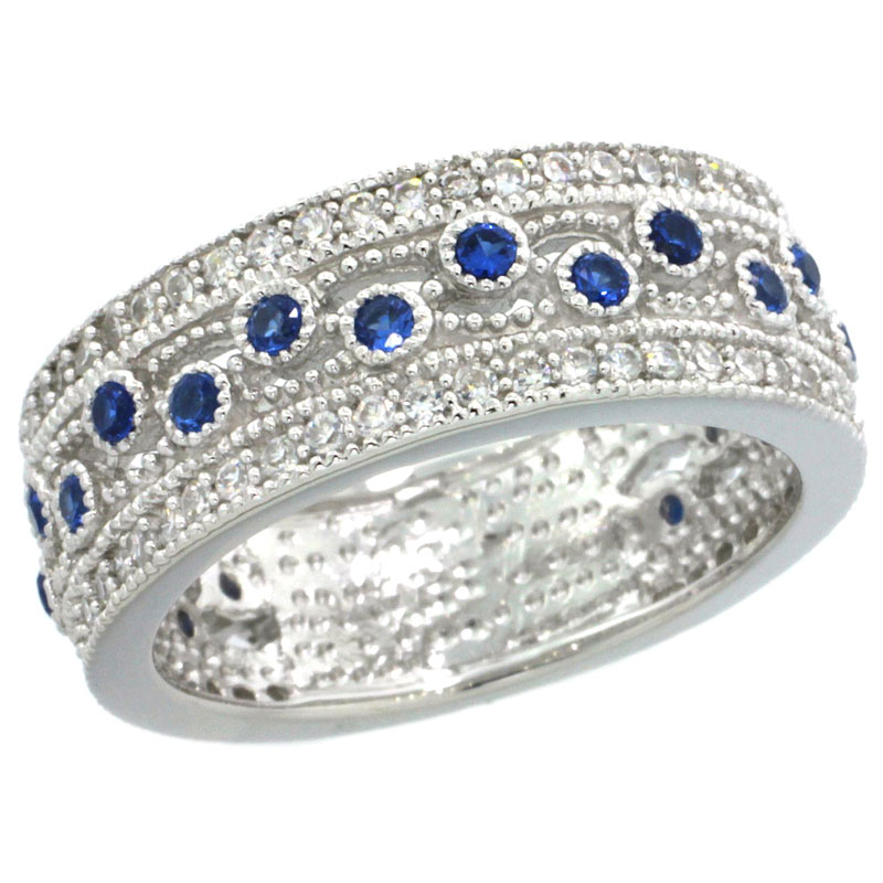 Sterling Silver Vintage Style Cubic Zirconia Ring Band Blue Center 9/32 inch wide, sizes 6-9