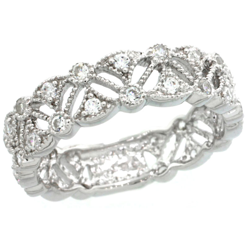 Sterling Silver Vintage Style Cubic Zirconia Ring Band 1/4 inch wide, sizes 6-9