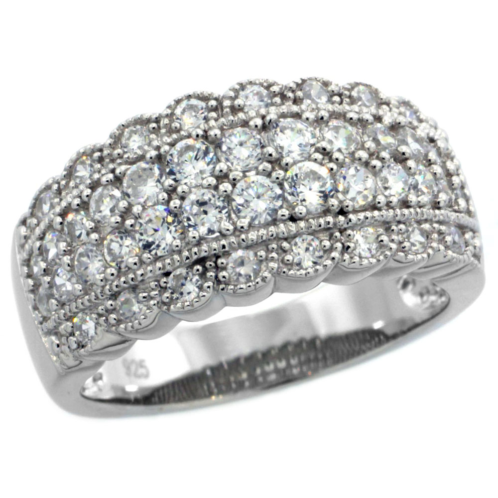 Sterling Silver Vintage Style Cubic Zirconia Cigar Band Ring 3/8 inch wide, sizes 6-9