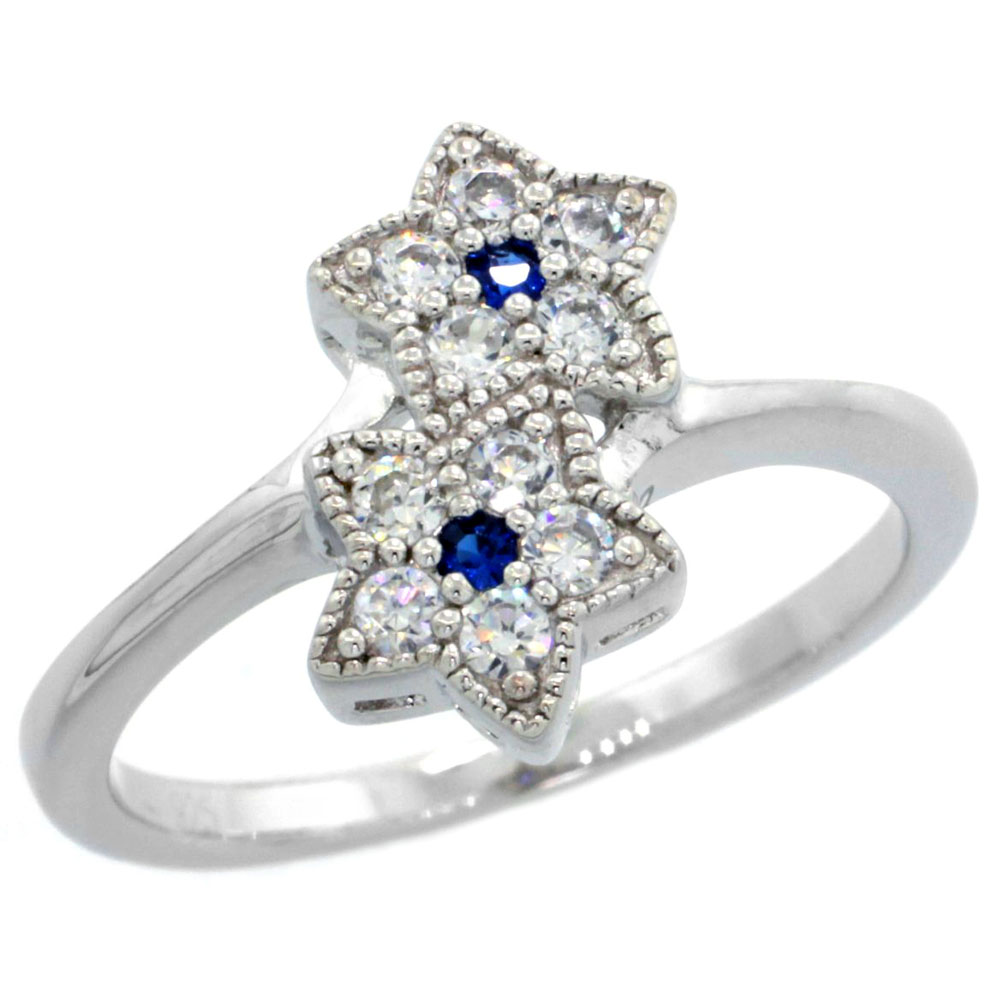 Sterling Silver Vintage Style Cubic Zirconia Double Star Ring Blue Sapphire Color Center, sizes 6-9