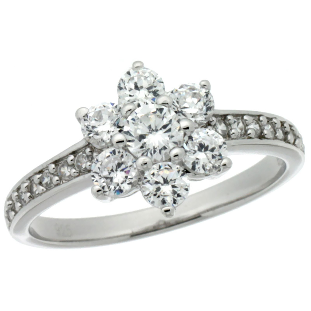 Sterling Silver Vintage Style Flower Cluster Cubic Zirconia Engagement Ring 3/8 inch wide, sizes 6-9