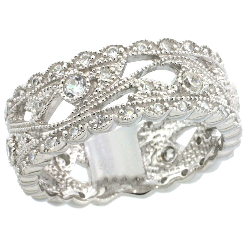 Sterling Silver Vintage Style Cubic Zirconia Ring Vine Floral Pattern 5/16 inch wide, sizes 6-9