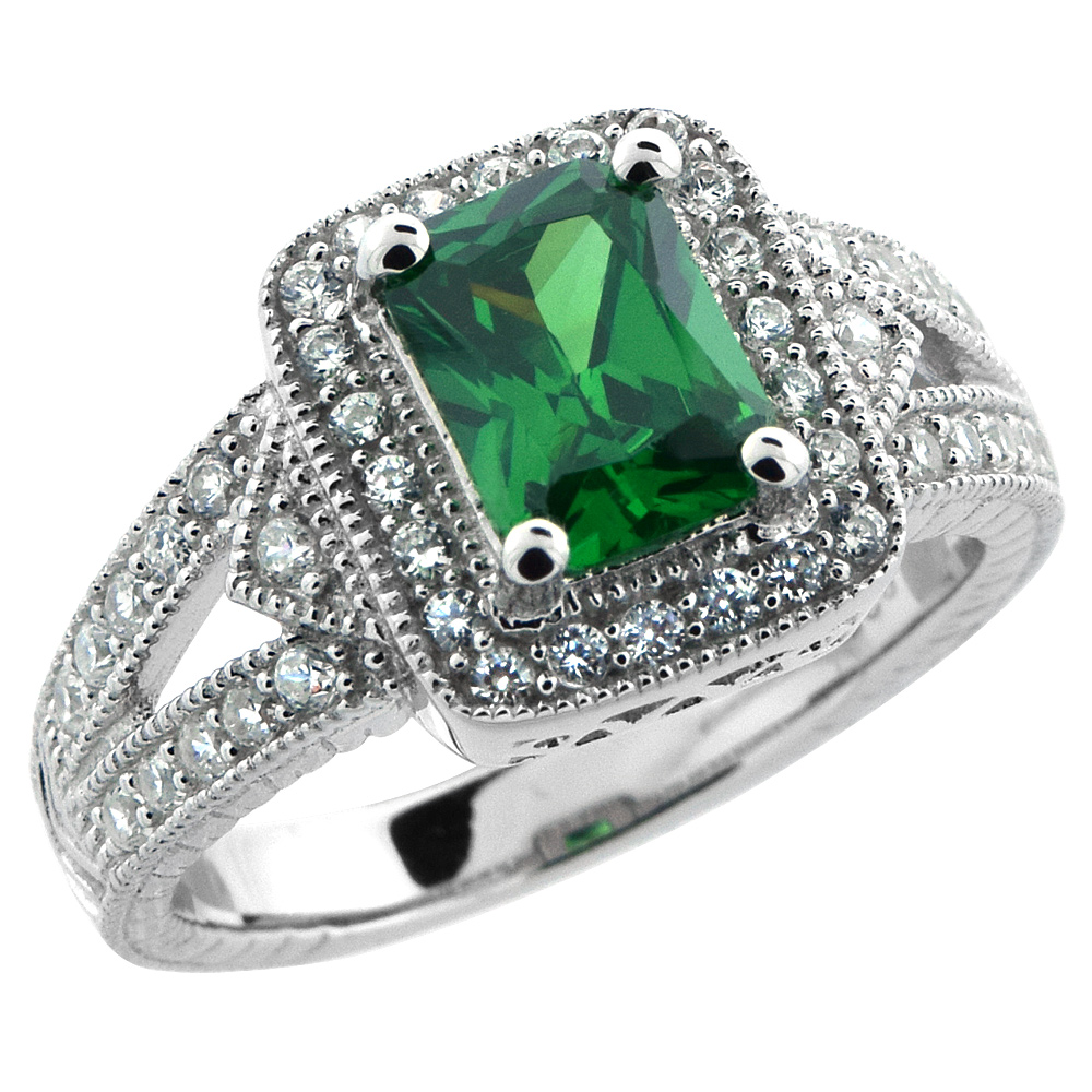 Sterling Silver Emerald Cubic Zirconia Halo Engagement Ring Emerald Cut 1 � ct cntr, sizes 6-9
