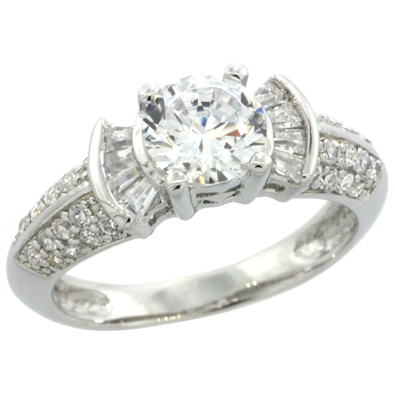 Sterling Silver Cubic Zirconia Engagement Ring Round 1 � Ct cntr Baguette Sides, sizes 6-9