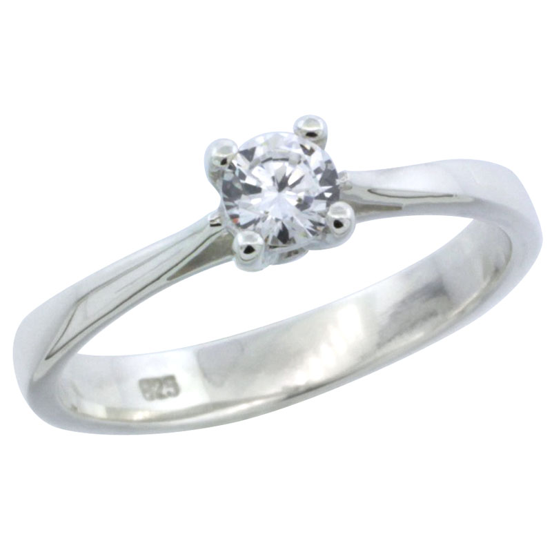 Sterling Silver 1/4 Carat Size Brilliant Cut CZ Solitaire Bridal Ring (Available in Sizes 6 to 10)