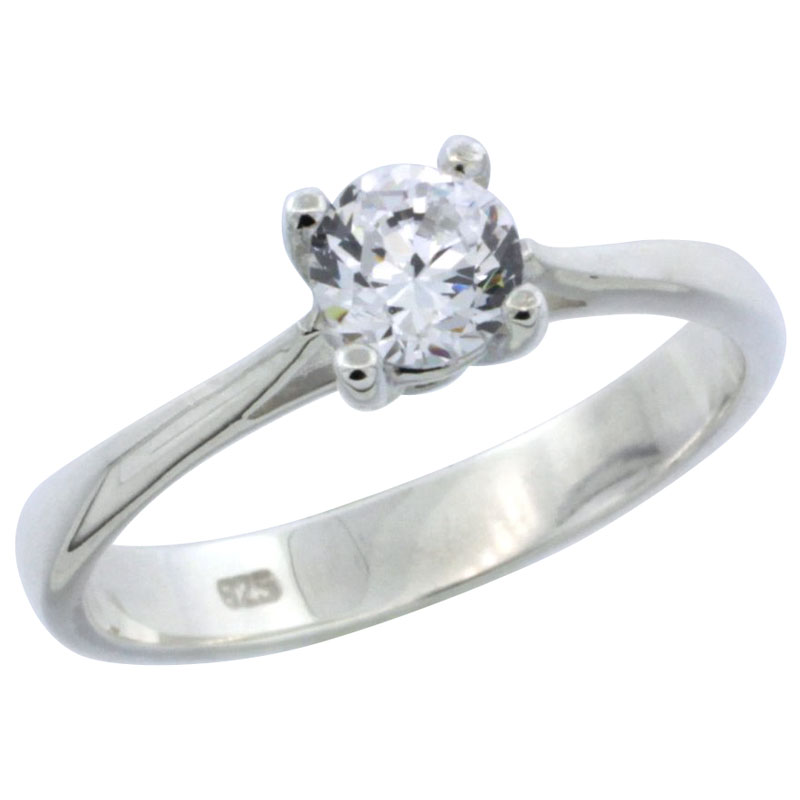 Sterling Silver 1/2 Carat Size Brilliant Cut CZ Solitaire Bridal Ring (Available in Sizes 6 to 10)