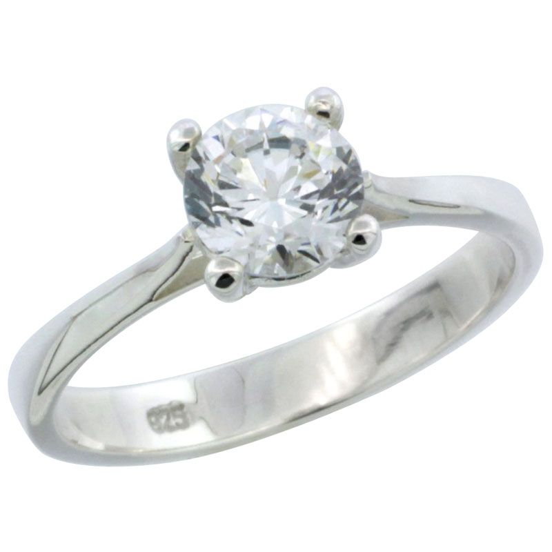 Sterling Silver 1 Carat Size Brilliant Cut CZ Solitaire Bridal Ring (Available in Sizes 6 to 10)