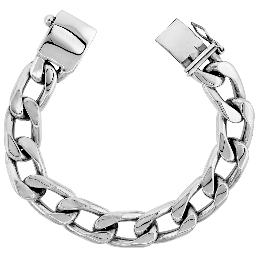 8 1//2 inch Long Sabrina Silver Stainless Steel Solid Heavy Link ID Bracelet for Men 3//8 inch Wide
