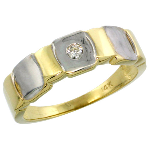 14k Gold Men's Diamond Ring w/ 0.06 Carat Brilliant Cut ( H-I Color; SI1 Clarity ) Diamond, 1/4 in. (7mm) wide