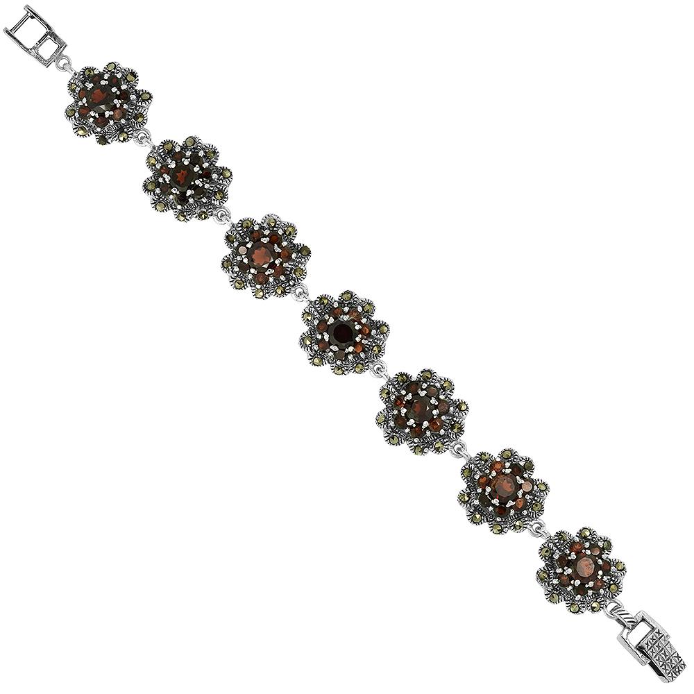 Sterling Silver Cubic Zirconia Garnet Cluster Floral Marcasite Bracelet 3/4 inch wide, 7 inch long