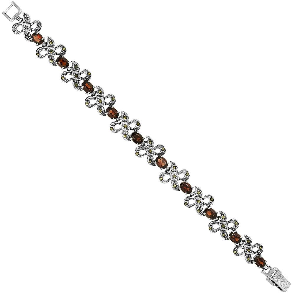 Sterling Silver Cubic Zirconia Garnet Ribbon Marcasite Bracelet 3/8 inch wide, 7 inch long